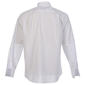 Camicia clergy tinta unita e diagonale bianco manica lunga s2
