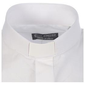 Camicia clergy tinta unita e diagonale bianco manica lunga s3