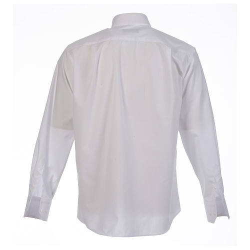 Camicia clergy tinta unita e diagonale bianco manica lunga 2
