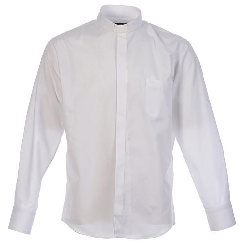 Camicia clergy tinta unita e diagonale bianco manica lunga 1