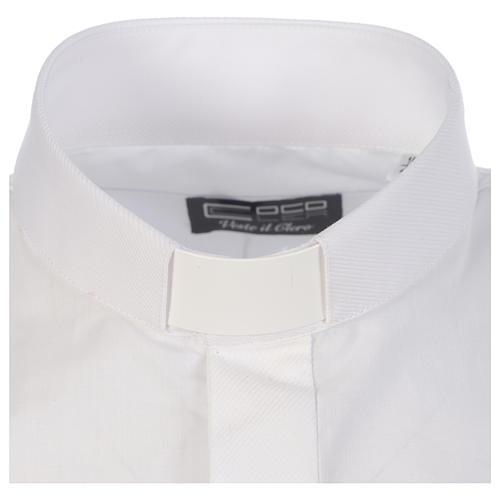 Camicia clergy tinta unita e diagonale bianco manica lunga 3