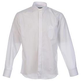 Koszula kapłańska jednolity kolor i po przekątnej biała długi rękaw s1