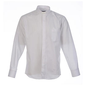 Clergy shirt solid colour and diagonal white long sleeve s1
