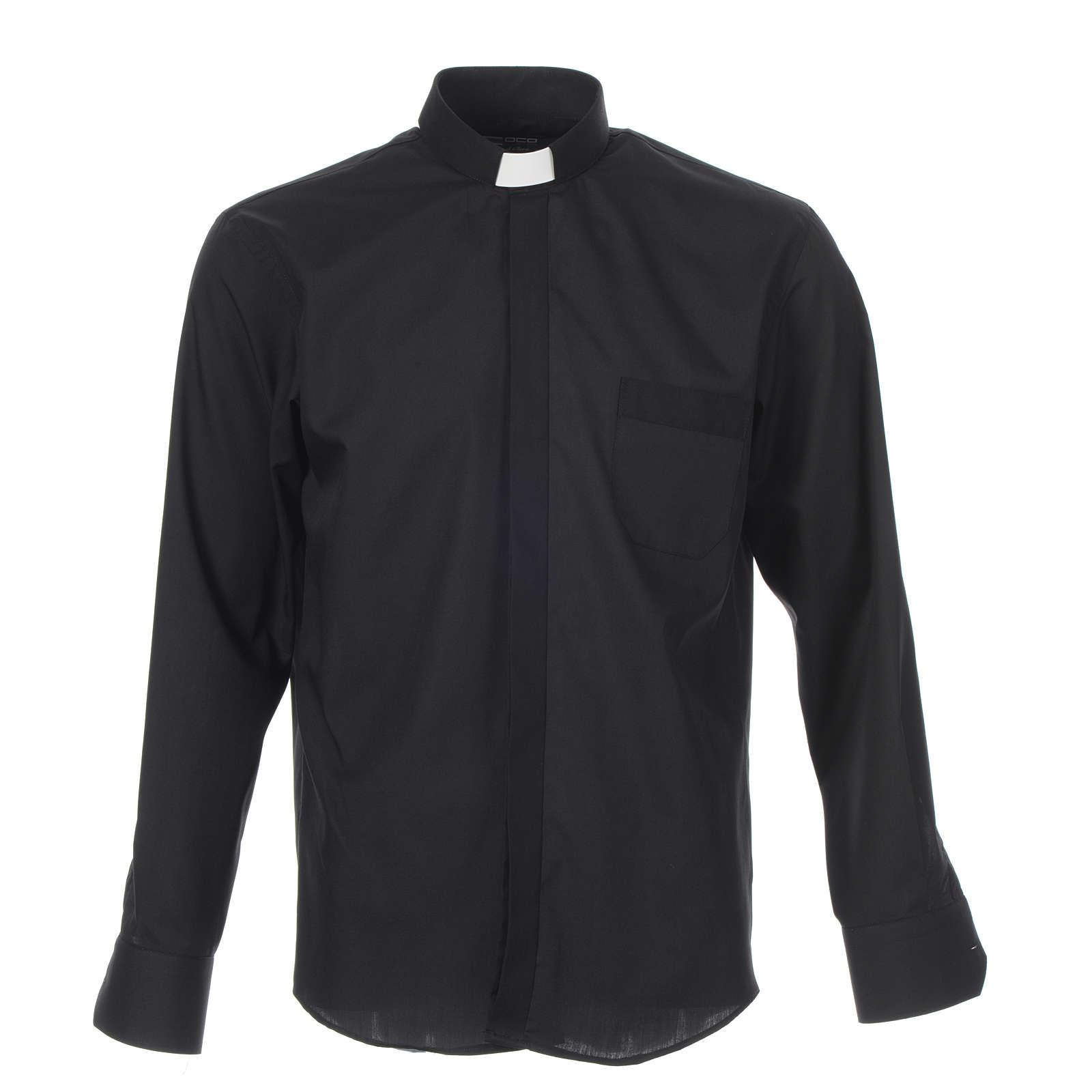 Collarhemd einfarbig mit feinen diagonalen Streifen Farbe Schwarz Langarm 4