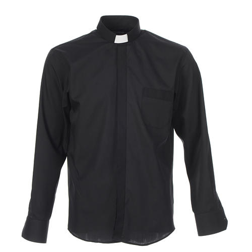 Collarhemd einfarbig mit feinen diagonalen Streifen Farbe Schwarz Langarm 1