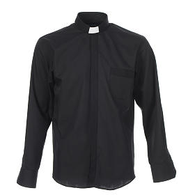 Clergy shirt solid colour and diagonal black long sleeve s1