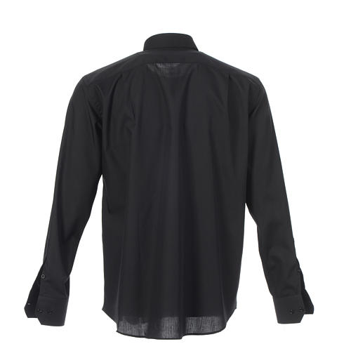 Clergy shirt solid colour and diagonal black long sleeve 2