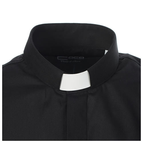 Clergy shirt solid colour and diagonal black long sleeve 3