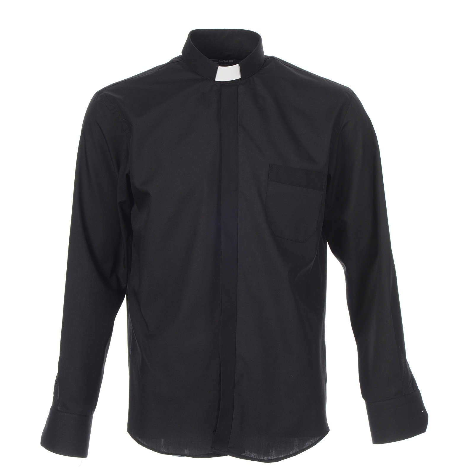 Camicia clergy tinta unita e diagonale nero manica lunga 4