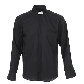 Camicia clergy tinta unita e diagonale nero manica lunga s1