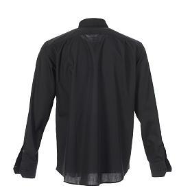 Camicia clergy tinta unita e diagonale nero manica lunga s2