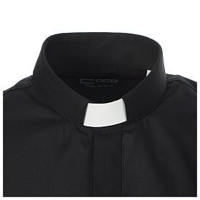 Camicia clergy tinta unita e diagonale nero manica lunga s3
