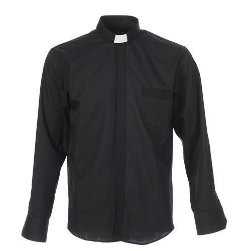 Camicia clergy tinta unita e diagonale nero manica lunga 1