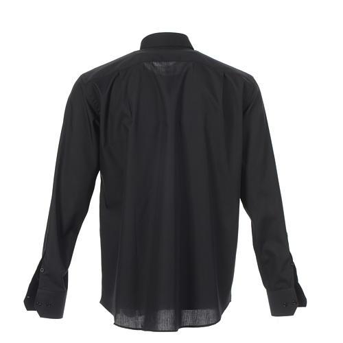Camicia clergy tinta unita e diagonale nero manica lunga 2