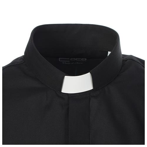 Camicia clergy tinta unita e diagonale nero manica lunga 3