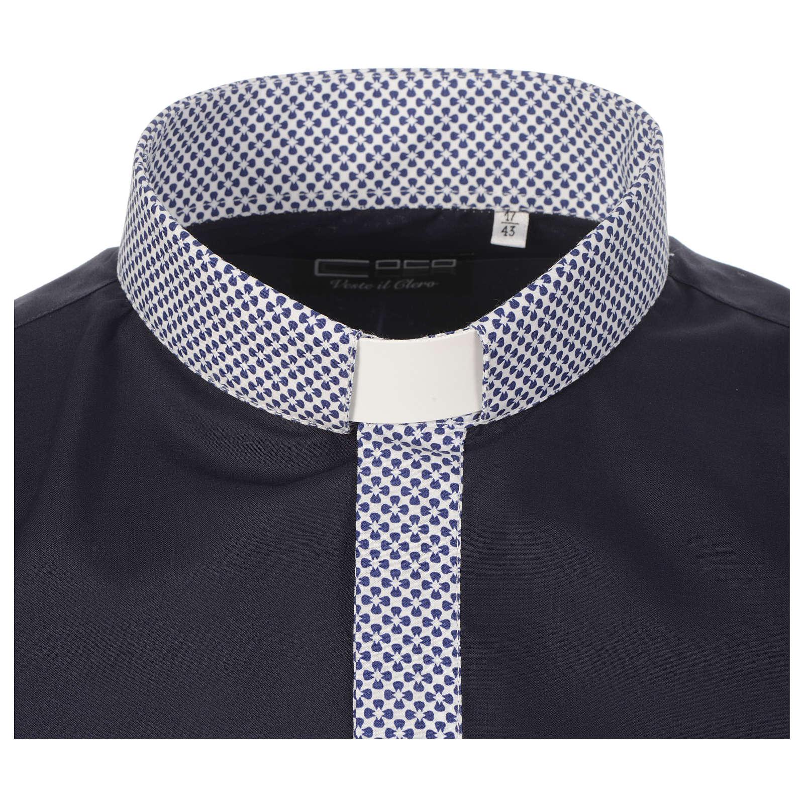 Collarhemd mit Kontrast in der Farbe Blau abgesetzt mit Kreuzmuster Langarm 4