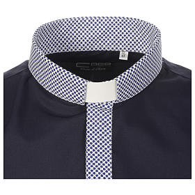 Clerical shirt contrast crosses blue long sleeve s3