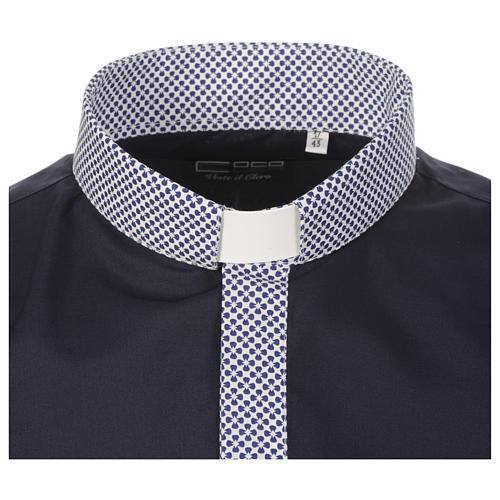 Clerical shirt contrast crosses blue long sleeve 3