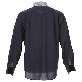 Camicia clergy contrasto croci blu manica lunga s2