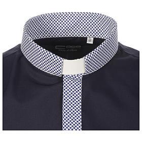 Camicia clergy contrasto croci blu manica lunga s3