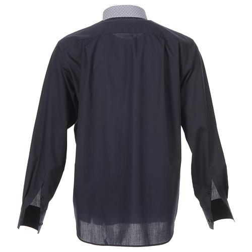 Camicia clergy contrasto croci blu manica lunga 2