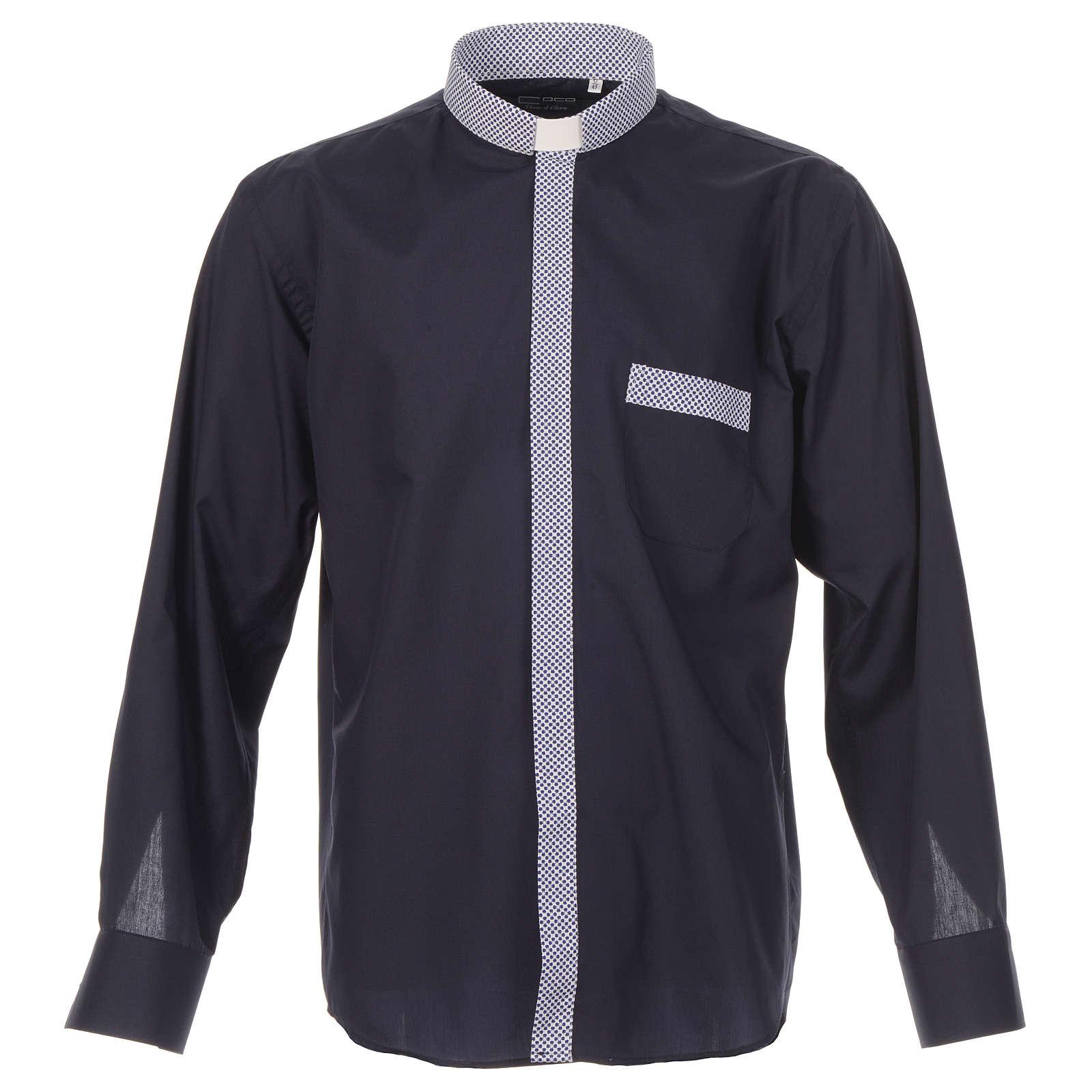 Koszula kapłańska kontrast krzyże niebieski długi rękaw 4