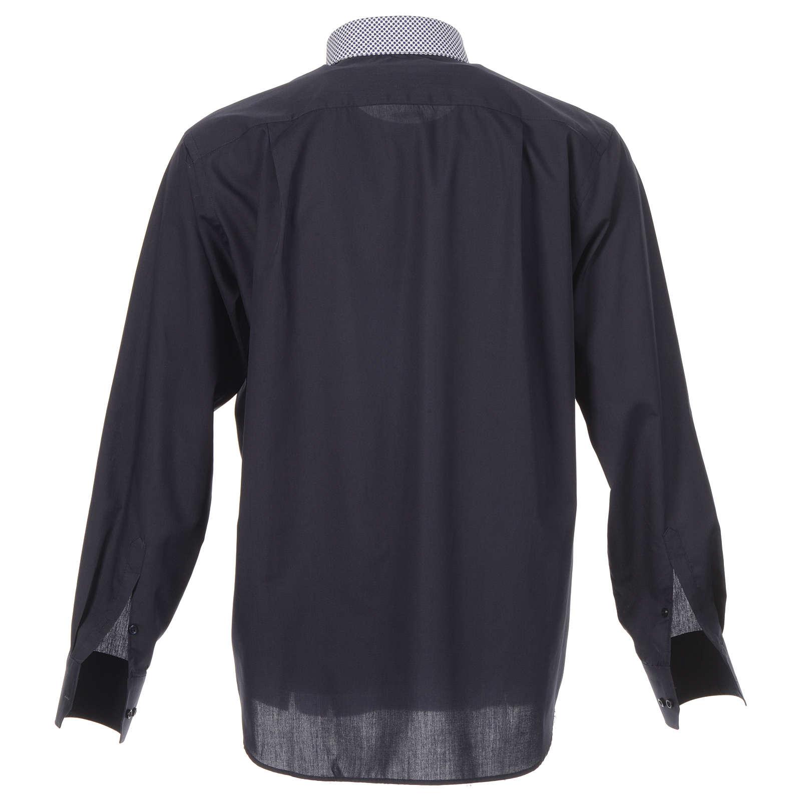 Camisa de sacerdote contraste cruzes azul manga longa 4