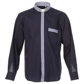 Camisa de sacerdote contraste cruzes azul manga longa s1