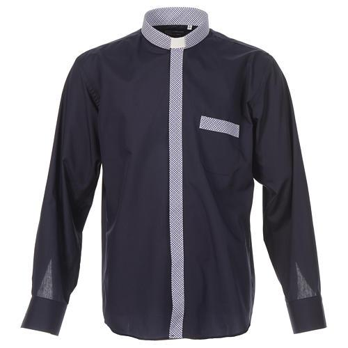 Camisa de sacerdote contraste cruzes azul manga longa 1