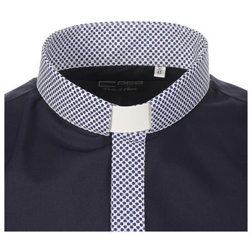 Camisa de sacerdote contraste cruzes azul manga longa 3