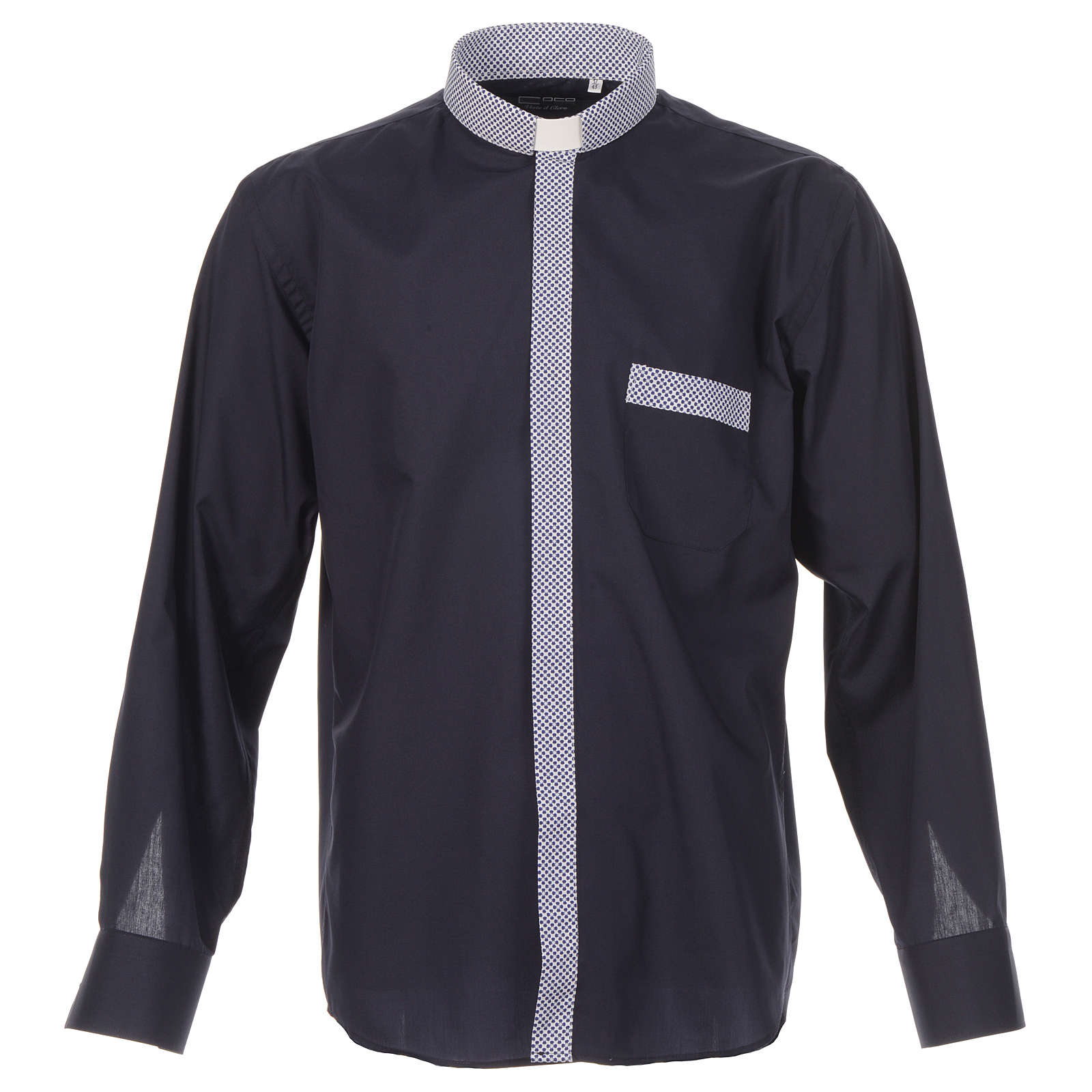 Blue long sleeve clergy shirt with contrast crosses 4