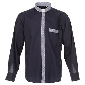 Blue long sleeve clergy shirt with contrast crosses s1