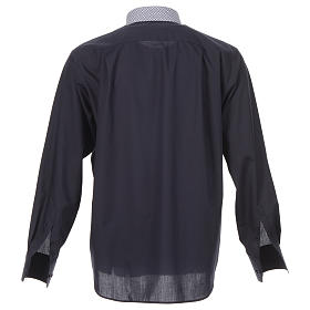 Blue long sleeve clergy shirt with contrast crosses s2