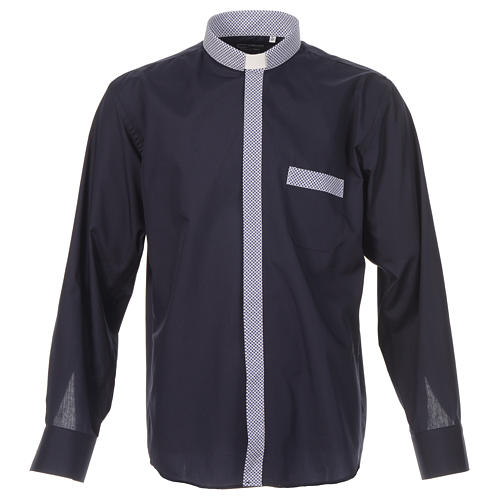Blue long sleeve clergy shirt with contrast crosses 1
