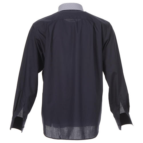 Blue long sleeve clergy shirt with contrast crosses 2