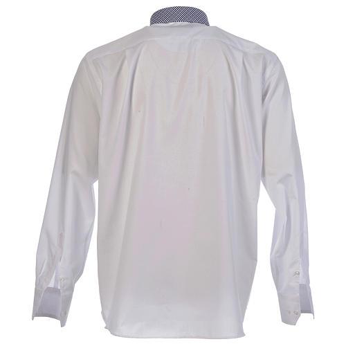 Collarhemd mit Kontrast in der Farbe Weiß abgesetzt mit Kreuzmuster Langarm 2