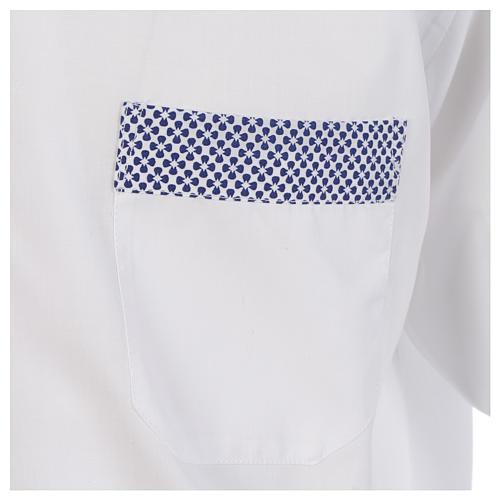 Collarhemd mit Kontrast in der Farbe Weiß abgesetzt mit Kreuzmuster Langarm 4