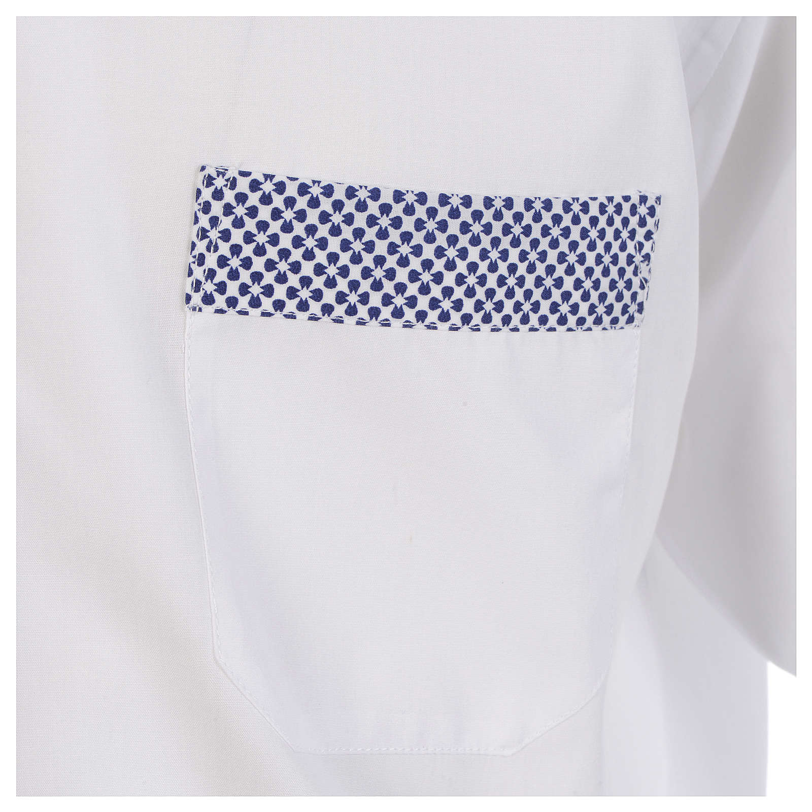 Clergy shirt white contrast crosses long sleeve 4