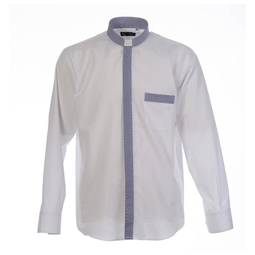 Camisa clergy sacerdote cruces blanco manga larga contraste 1