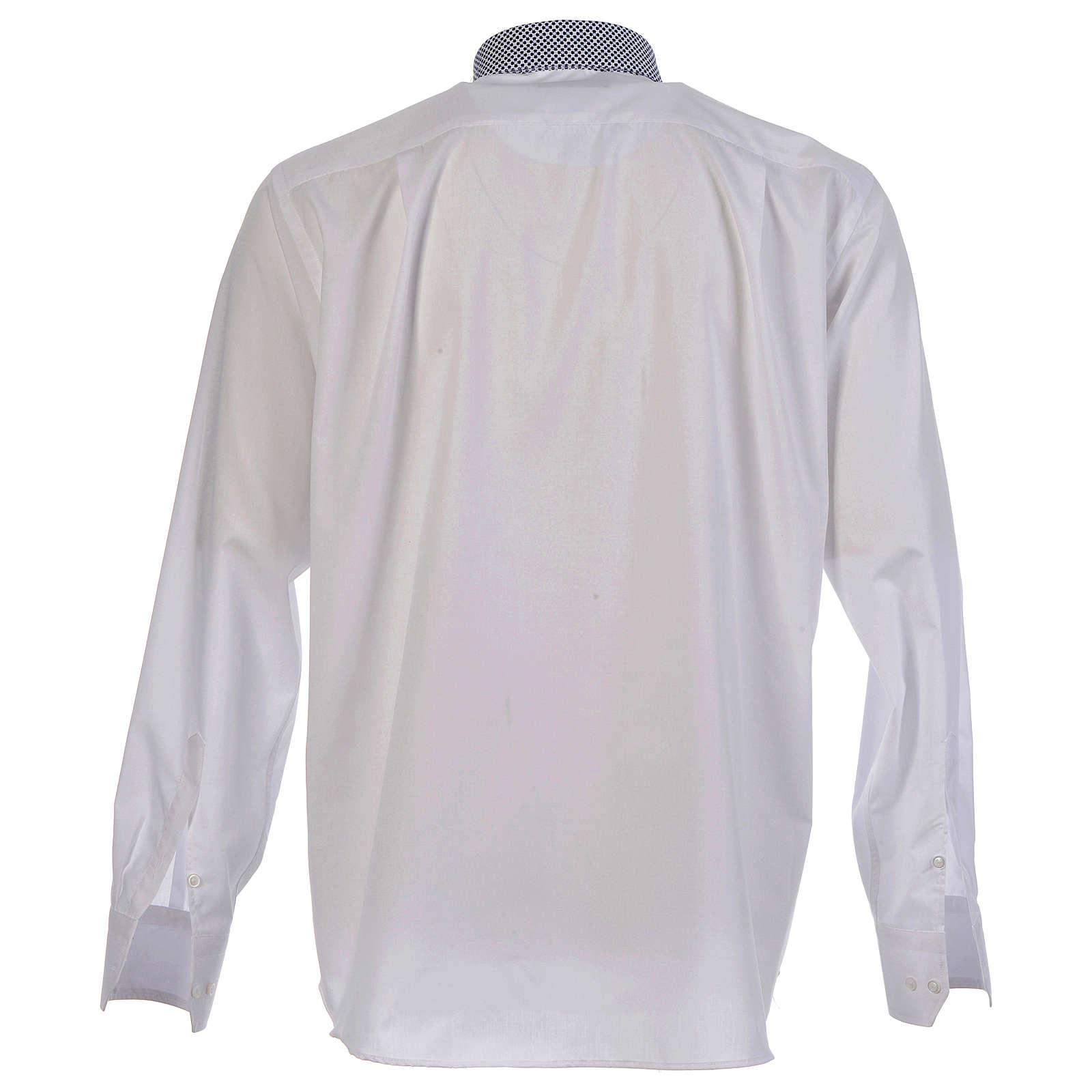 Chemise clergy contraste croix blanc manches longues 4