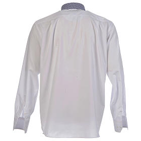 Camicia clergy contrasto croci bianco manica lunga s2