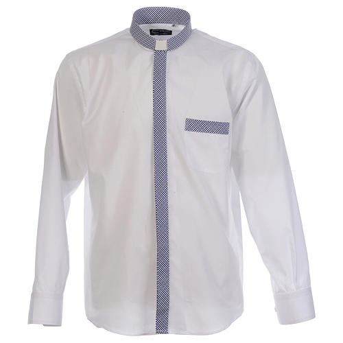 Camicia clergy contrasto croci bianco manica lunga 1