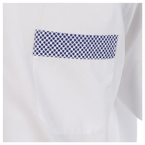 Camicia clergy contrasto croci bianco manica lunga 4