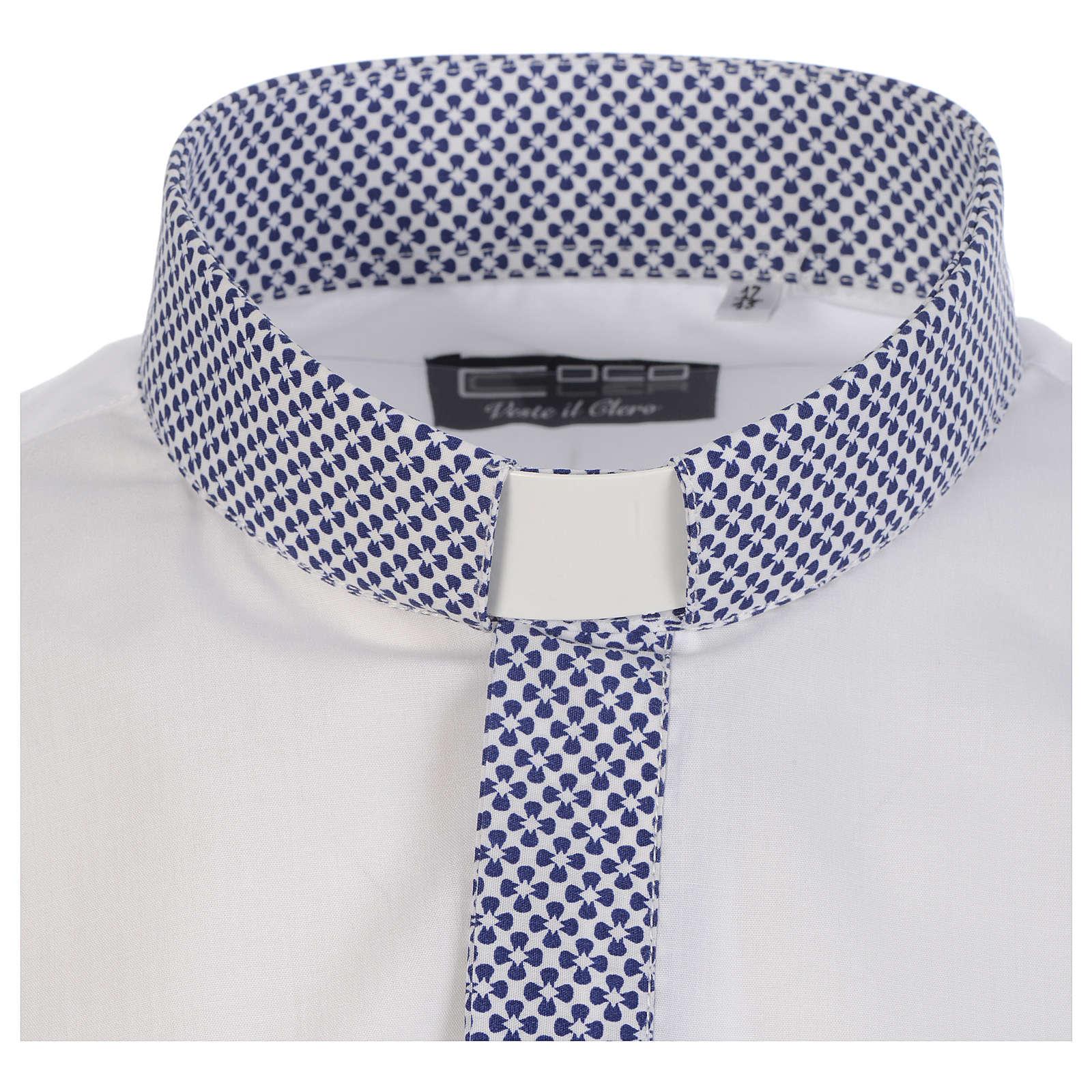 Koszula kapłańska kontrast krzyże biały długi rękaw 4