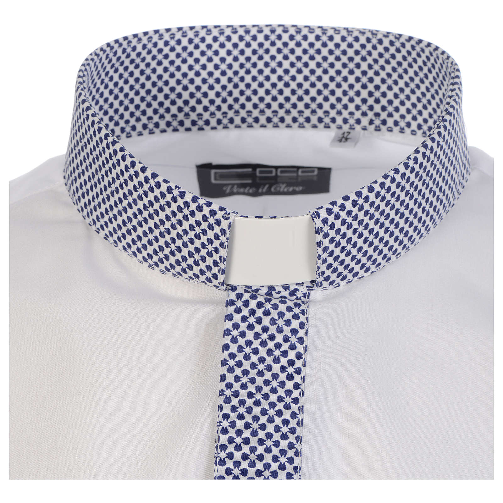 Camisa de sacerdote contraste cruzes branco manga longa 4