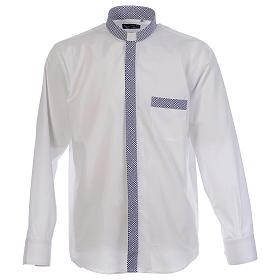 Camisas de Sacerdote: Camisa de sacerdote contraste cruzes branco manga longa