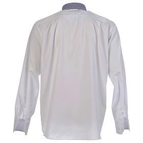 Camisa de sacerdote contraste cruzes branco manga longa s2