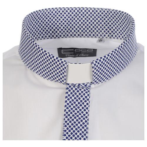 Camisa de sacerdote contraste cruzes branco manga longa 3