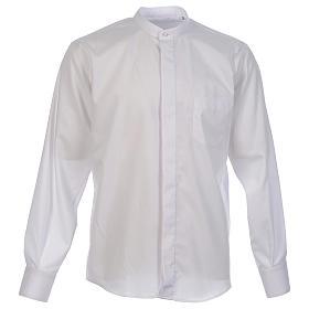 Camisas de Sacerdote: Camisa clergy batina colarinho coberto manga longa