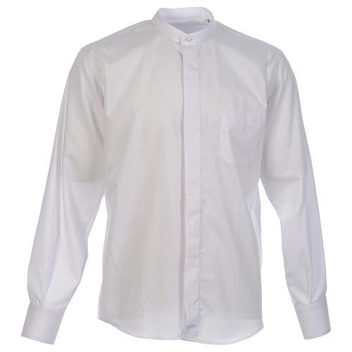 Camisa clergy batina colarinho coberto manga longa 1